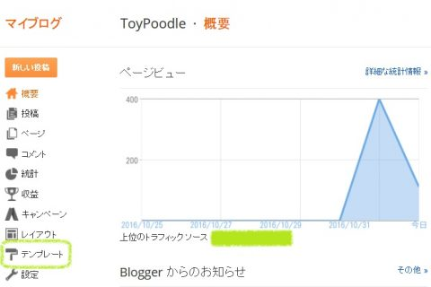 blogger設定画面